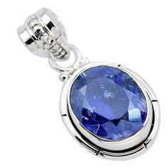 925 silver 5.23cts faceted natural blue iolite solitaire pendant jewelry p41584
