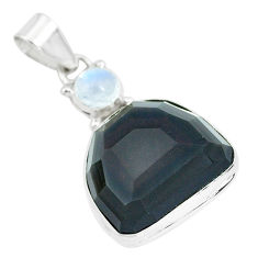 925 silver 21.48cts faceted natural rainbow obsidian eye fancy pendant p65843