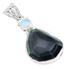 925 silver 19.05cts faceted natural rainbow obsidian eye fancy pendant p65846