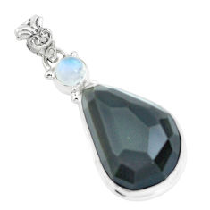 925 silver 20.65cts faceted natural rainbow obsidian eye fancy pendant p65852