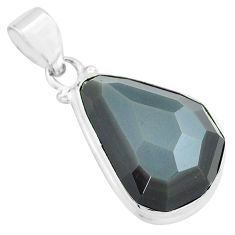 925 silver 16.73cts faceted natural rainbow obsidian eye fancy pendant p71948