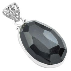 925 silver 20.65cts faceted natural rainbow obsidian eye fancy pendant p71958