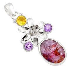925 silver 13.71cts faceted purple cacoxenite super seven flower pendant p77906