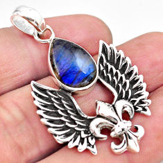 925 silver 6.82cts feather charm natural blue labradorite pendant p86375