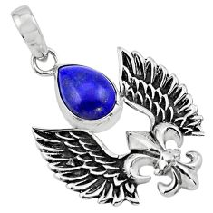 925 silver 5.52cts feather charm natural blue lapis lazuli pendant p86364