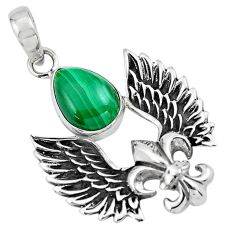 925 silver 5.52cts feather charm natural green malachite pear pendant p86369