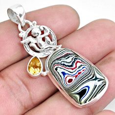 925 silver 13.87cts fordite detroit agate cupid angel wings pendant p43248