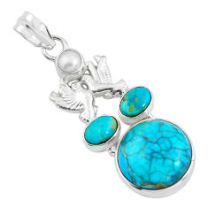 925 silver 17.20cts green arizona mohave turquoise love birds pendant d31844