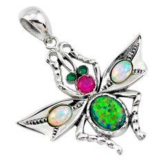 925 silver 5.75cts green australian opal (lab) emerald (lab) pendant c2816