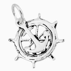 925 silver 1.89gms indonesian bali style solid anchor charm pendant c2718
