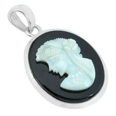 925 silver 17.22cts lady face natural opal cameo on black onyx pendant p68794