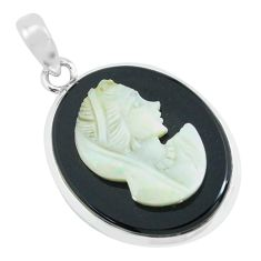925 silver 14.72cts lady face natural opal cameo on black onyx pendant p68797