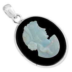 925 silver 16.85cts lady face natural opal cameo on black onyx pendant p79109