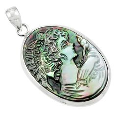 925 silver 15.65cts lady face natural titanium cameo on shell pendant p80189