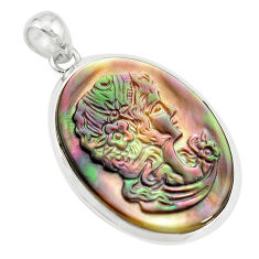 925 silver 16.20cts lady face natural titanium cameo on shell pendant p80194