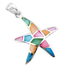 925 silver 4.48gms multi color blister pearl enamel star fish pendant c2580