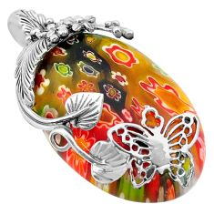925 silver 31.00cts multi color italian murano glass butterfly pendant c4358