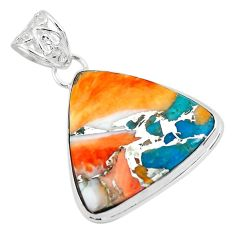 925 silver 18.68cts multi color spiny oyster arizona turquoise pendant p65340