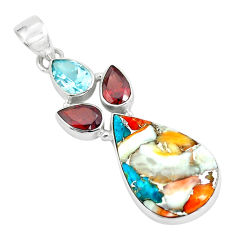 925 silver 15.08cts multi color spiny oyster arizona turquoise pendant p65350