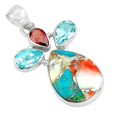925 silver 15.65cts multi color spiny oyster arizona turquoise pendant p65360