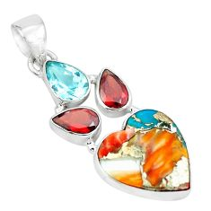 925 silver 12.58cts multi color spiny oyster arizona turquoise pendant p65364