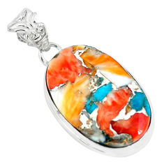 925 silver 15.05cts multi color spiny oyster arizona turquoise pendant p65386