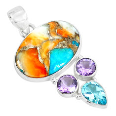 925 silver 16.20cts multi color spiny oyster arizona turquoise pendant p65395