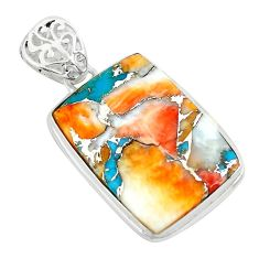 925 silver 18.88cts multi color spiny oyster arizona turquoise pendant p65418