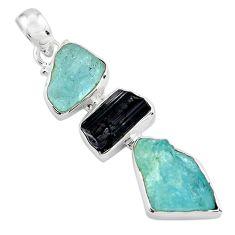 925 silver 14.47cts natural aquamarine rough tourmaline rough pendant p88111