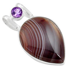925 silver 20.88cts natural black botswana agate pear amethyst pendant p85074