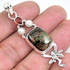 925 silver natural black honduran matrix opal garnet angel wing pendant p43135
