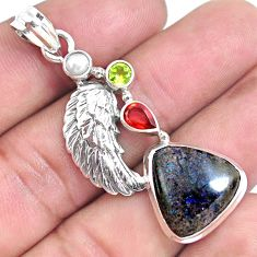 925 silver natural black honduran matrix opal garnet feather pendant p46758