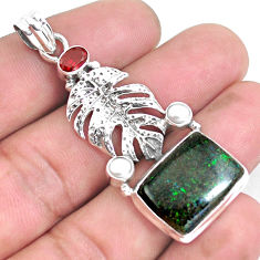925 silver 15.64cts natural black honduran matrix opal red garnet pendant p43115