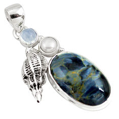 925 silver 12.04cts natural black pietersite (african) moonstone pendant p79629