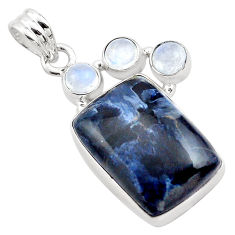 925 silver 18.15cts natural black pietersite (african) moonstone pendant p84583