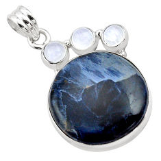 925 silver 19.07cts natural black pietersite (african) moonstone pendant p84591