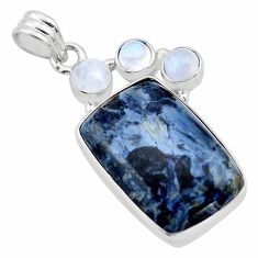 925 silver 18.70cts natural black pietersite (african) moonstone pendant p84597