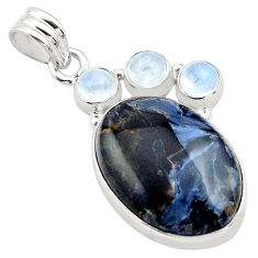 925 silver 16.73cts natural black pietersite (african) moonstone pendant p84600