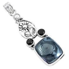 925 silver 19.00cts natural black psilomelane white pearl flower pendant p49519