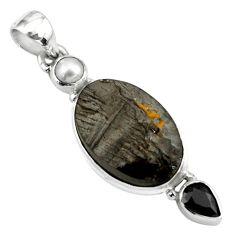 925 silver 13.66cts natural black shungite onyx pearl pendant jewelry p79409