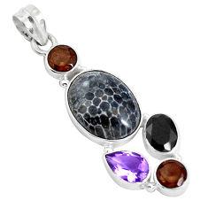 925 silver 14.40cts natural black stingray coral from alaska pendant d31060
