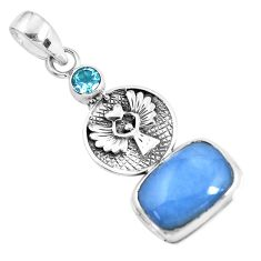 925 silver 9.72cts natural blue angelite topaz eagle charm pendant p55027