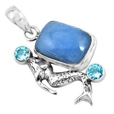 925 silver 13.84cts natural blue angelite topaz fairy mermaid pendant p55030