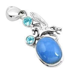 925 silver 12.30cts natural blue angelite topaz unicorn pendant jewelry p55038