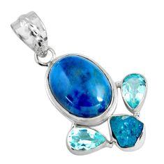 925 silver 15.55cts natural blue apatite (madagascar) topaz pendant p90254