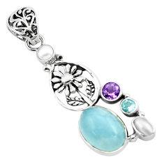 925 silver 10.26cts natural blue aquamarine amethyst flower pendant p72864