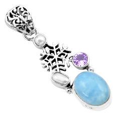 925 silver 9.84cts natural blue aquamarine amethyst snowflake pendant p72906