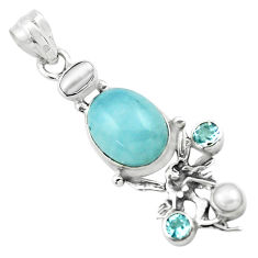 925 silver 9.37cts natural blue aquamarine angel wings fairy pendant p72871