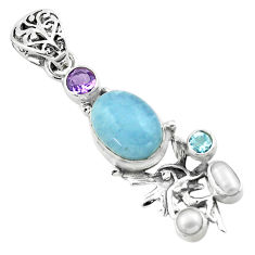 925 silver 9.37cts natural blue aquamarine angel wings fairy pendant p72884