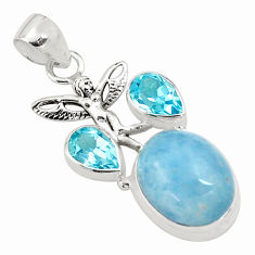 925 silver 12.39cts natural blue aquamarine angel wings fairy pendant p77824